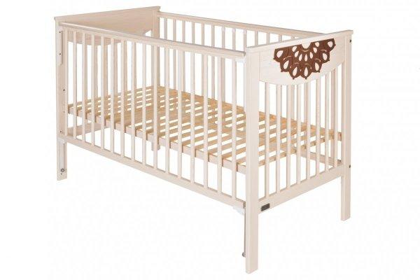 malooni, Koronka, łóżeczko 120x60cm, BASIC, mleczny