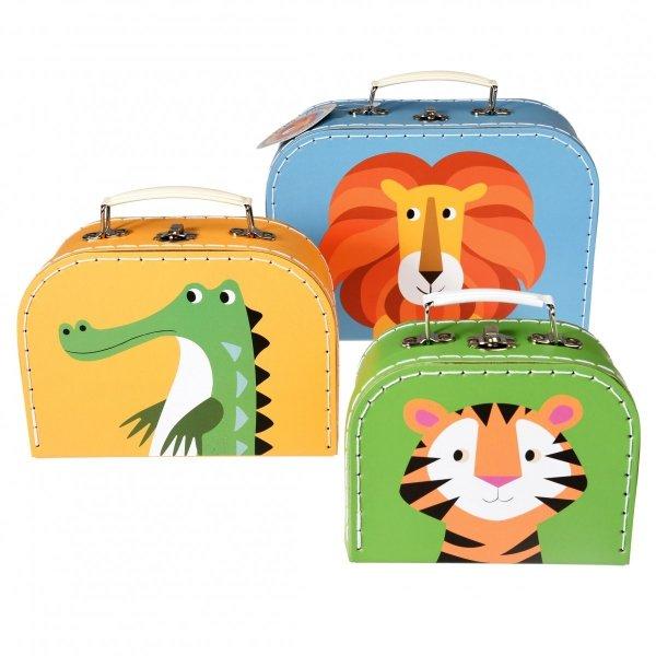 Rex, zestaw 3 walizeczek tekturowych, zwierzątka