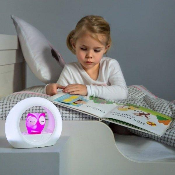 Zazu, lampka sowa Lou, różowa, aktywowana dźwiękiem