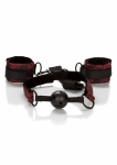 SCANDAL Breathable Ball Gag with Cuffs - zestaw BDSM