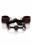 SCANDAL Breathable Ball Gag with Cuffs - zestaw BDSM