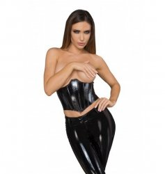 F211 Lacquered eco leather corset wit fishbones XL
