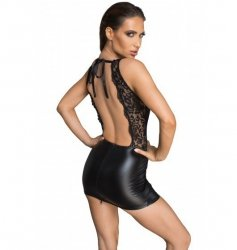 F214 Powerwetlook and lace minidress with deep neckline on the back L