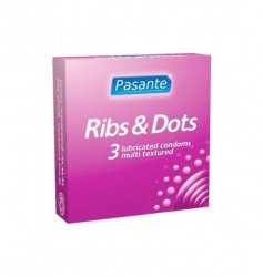 Prezerwatywy Pasante - Ribs & Dots (1 op. / 3 szt.)