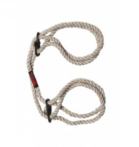 Kink by Doc Johnson - konopne kajdanki Hogtied Bind & Tie 6mm Hemp Wrist or Ankle Cuffs (naturalny)