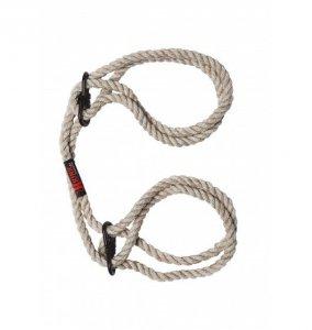 Kink by Doc Johnson - konopne kajdanki Hogtied Bind & Tie 6mm Hemp Wrist or Ankle Cuffs (naturalny)