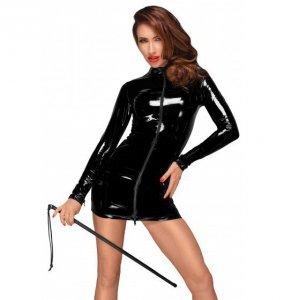 Noir handmade F187 Mini sukienka z PVC z czarnym dwukierunkowym zamkiem z przodu XL (czarny)