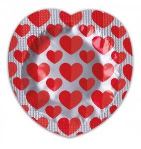 Pasante Heart Shaped Foil Condoms - Prezerwatywy z czerwonego lateksu (100 szt.)