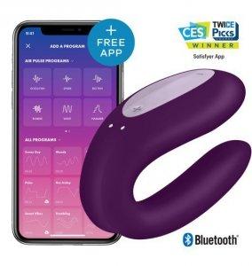 Satisfayer Double Joy Violet incl. Bluetooth and App – wibrator z aplikacją dla par (fioletowy)