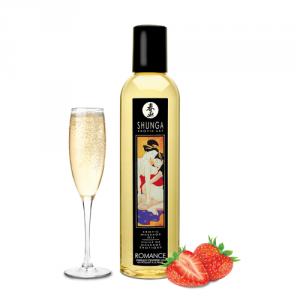 Shunga Romance Massage Oil 250 ml - olejek do masażu erotycznego (aromat musującego wina truskawkowego)