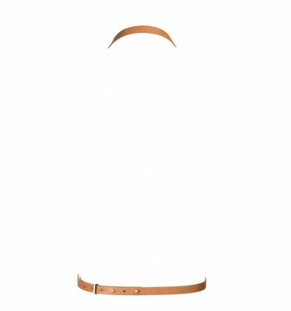Bijoux Indiscrets MAZE 8 Harness - skóropodobna uprząż BDSM (brązowy)