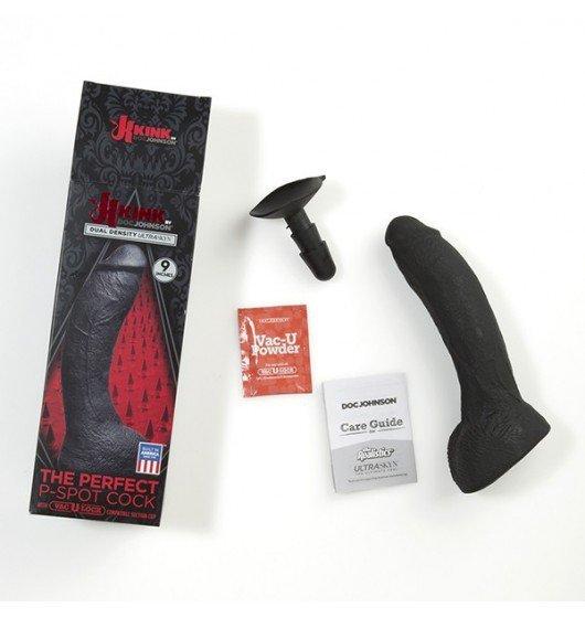 Kink by Doc Johnson czarne dildo analne - The Perfect P-Spot Cock With Removable Vac-U-Lock™ Suction Cup sztuczny penis (czarny)