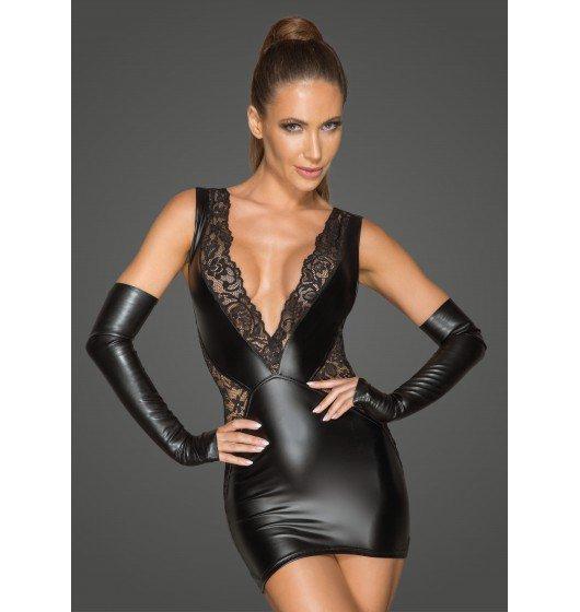 Noir handmade F212  Koronkowa mini sukienka z głębokim dekoltem M (czarny)