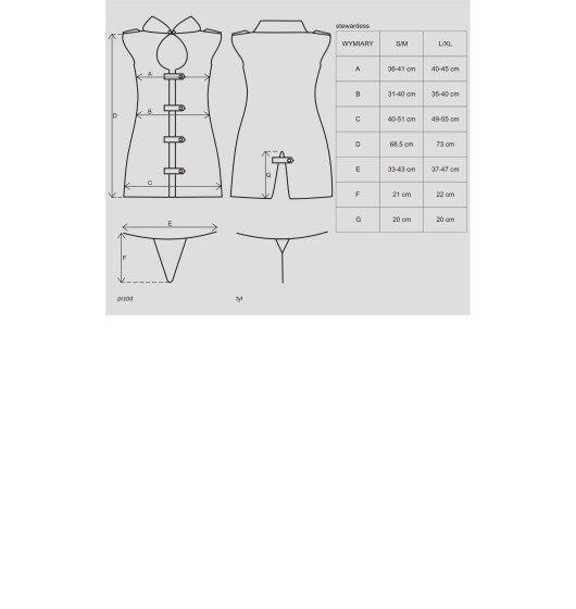 Obsessive Stewardess kostium 3-częściowy L/XL