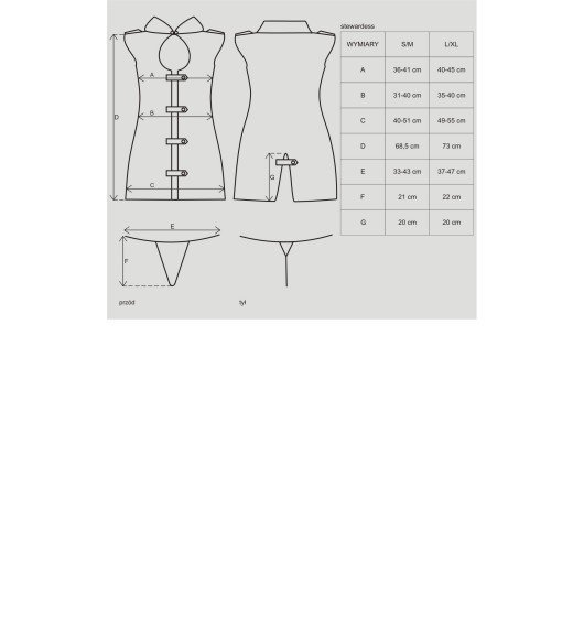 Obsessive Stewardess kostium 3-częściowy L/XL (szary)