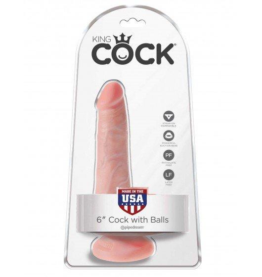 King Cock małe dildo - 6'' Cock with Balls sztuczny penis (cielisty)