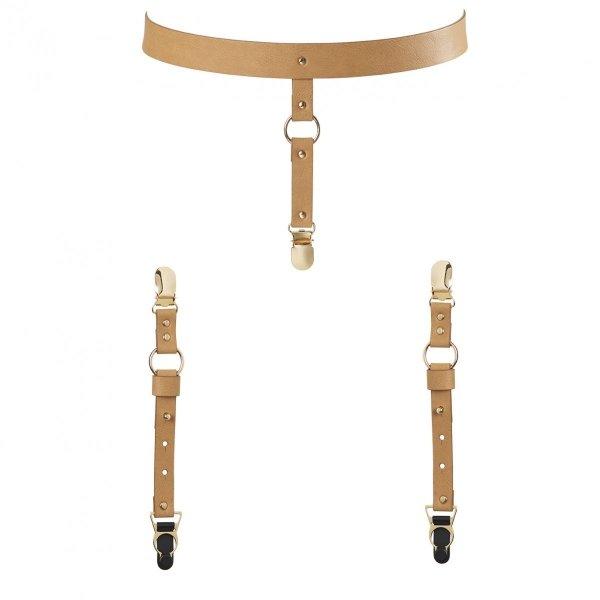Bijoux Indiscrets MAZE Suspender Belt for Underwear & Stockings - skóropodobny pas do pończoch (brązowy)