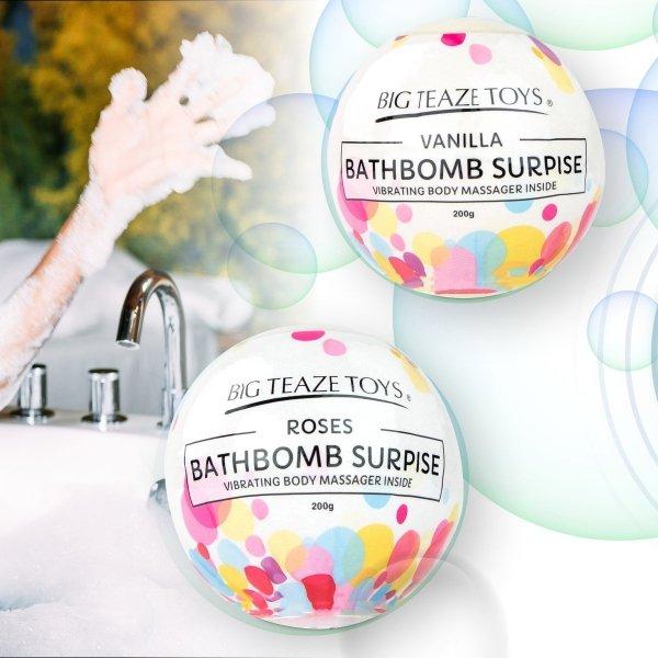 Big Teaze Toys Bath Bomb Surprise with Vibrating Body Massager Rose - kula do kąpieli o zapachu róży z masażerem ciała