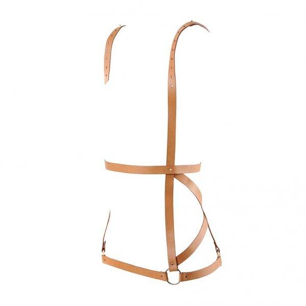 Bijoux Indiscrets MAZE Arrow Dress - uprząż skóropodobna (brązowy)