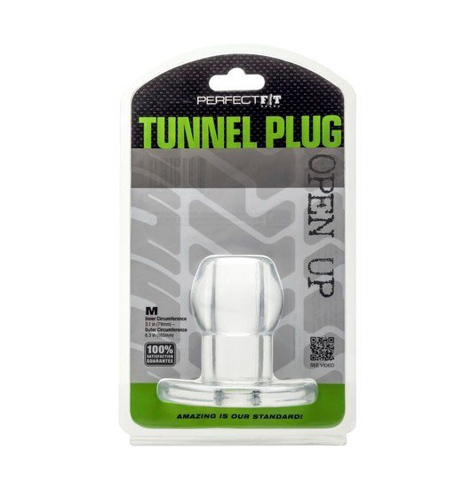 Tunel analny Perfect Fit - Ass Tunnel Plug rozmiar M (przeźroczysty)
