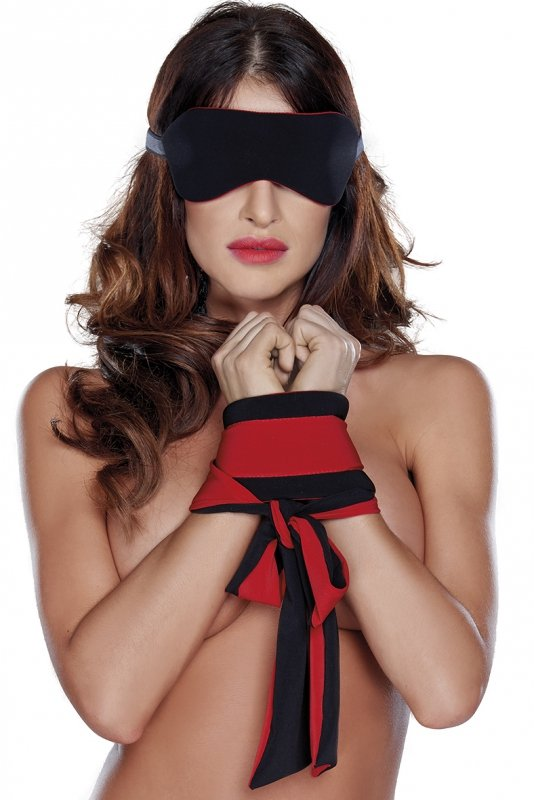 Roxana Eye mask and cuffs O-S/red