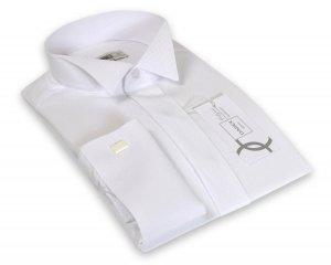 Koszula męska Slim - wizytowa na spinkę w kolorze białym
