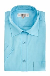 Koszula krótki rękaw Slim Line - błekitny turkus