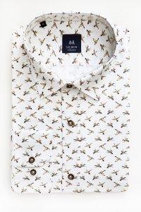 Koszula męska Slim - biała w kaczki