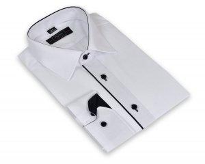 Koszula męska XXL - biała z czarnymi dodatkami