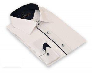 Koszulamęska Slim  - biała z granatowymi dodatkami