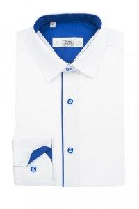 Koszula dziecięco-młodzieżowa slim - biała z szafiorwymi dodatkami