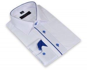 Koszula męska XXL - biała z szafirowymi dodatkami