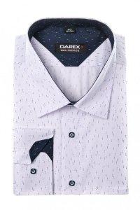 Koszula męska XXXL - biała w granatowo - szafirowy wzorek