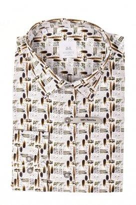 Koszula męska Slim - biała w piórka