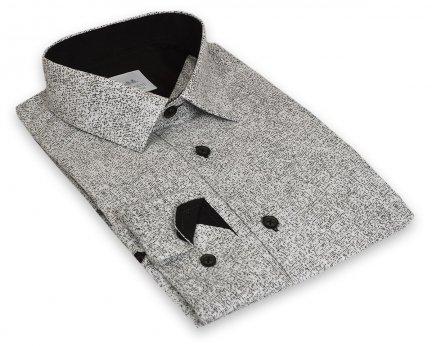 667154ea9f8dc4 Koszula męska Slim - biała w czarny wzorek - Długi rękaw