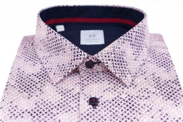 Koszula męska Slim - biała w granatowo-czerwony wzór