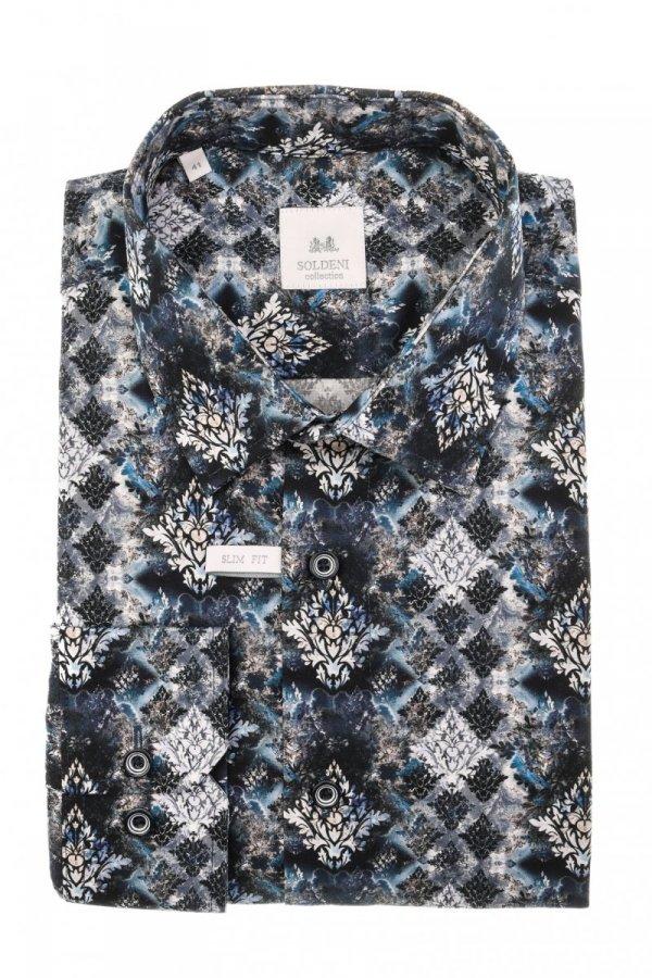 Koszula męska Slim - w roślnny wzór