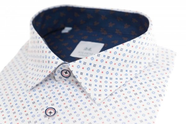 Koszula męska Slim - biała w kolorowy wzorek