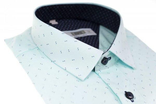 Koszula męska Slim - jasno-seledynowa w kropeczki