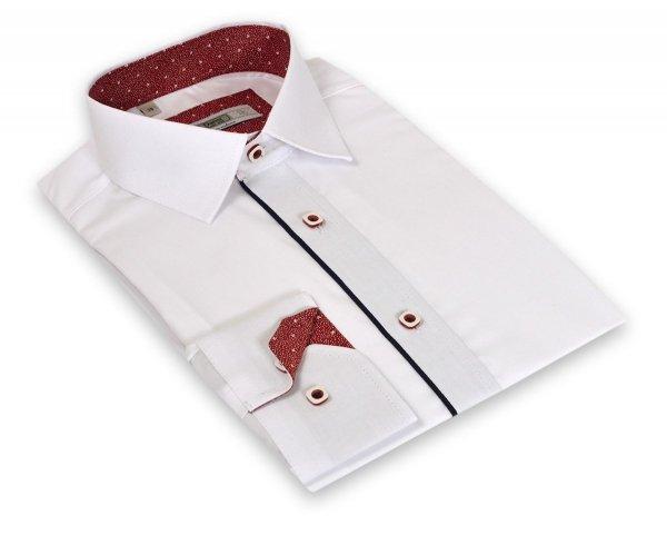 Koszula męska Slim - biała z granatowymi i czerwonymi dodatkami
