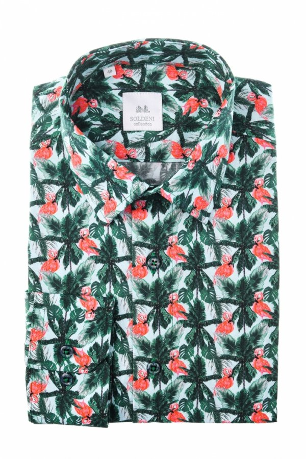 Koszula męska Slim - wzór flamingi