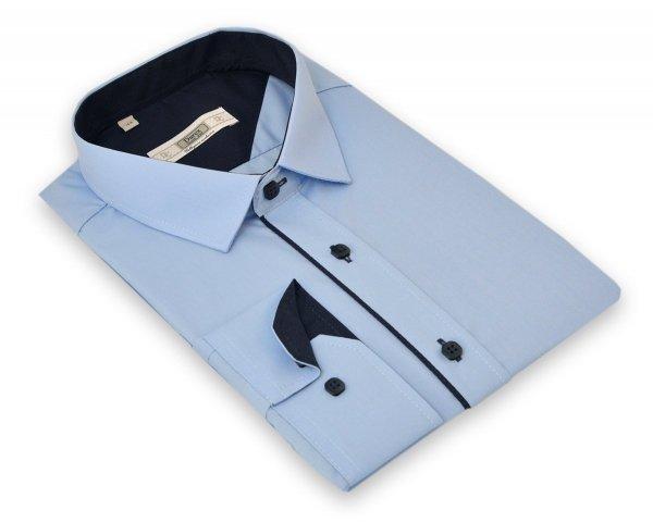 Koszula męska Slim - niebieska z granatową wypustką