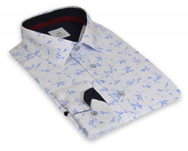 Koszula męska Slim - biała w niebieski wzorek