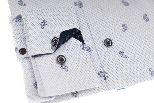 Koszula męska Slim - biała w szary wzór