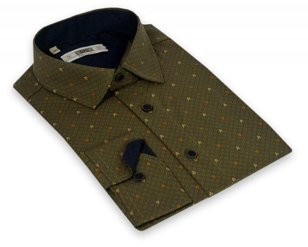 Koszula męska Slim - zielona we wzór