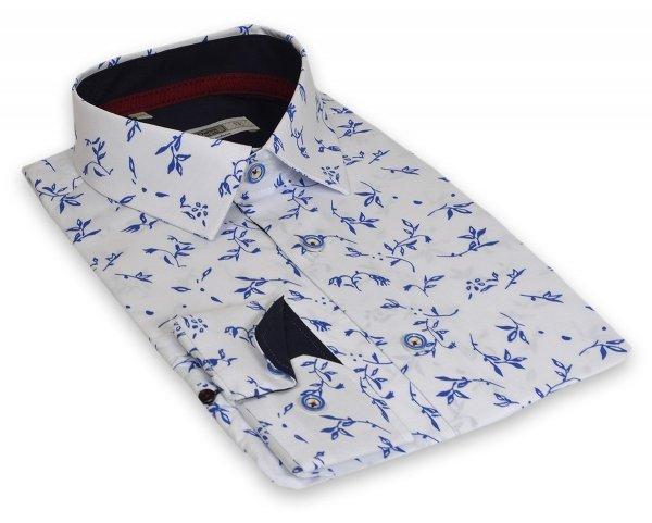 Koszula męska Slim - biała w szafirowy wzorek