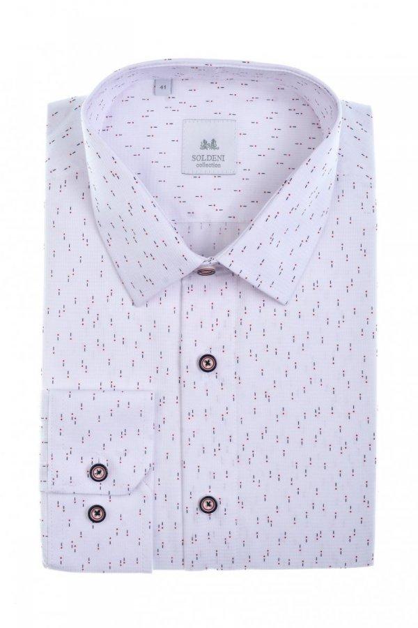 Koszula męska Slim - biała struktura we wzorek