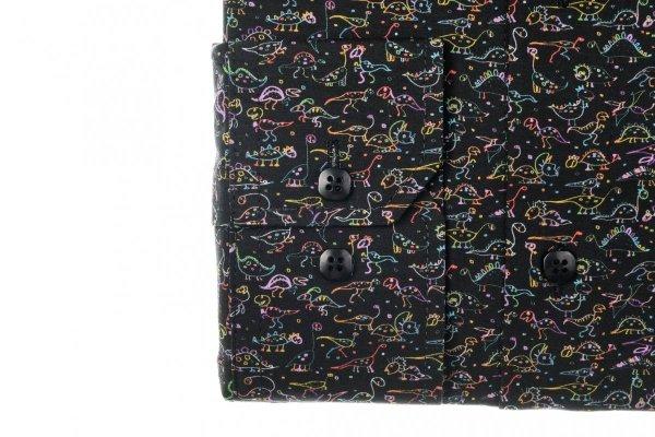 Koszula męska Slim - czarna w kolorowy wzorek - dinozaury