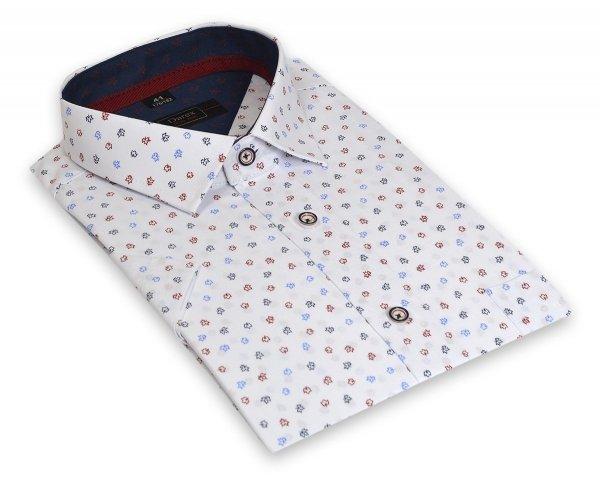 Koszula męska Slim biała w kolorowe listki