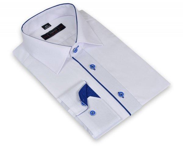 Koszula męska XXXL - biała z szafirowymi dodatkami
